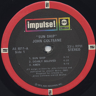 John Coltrane / Sun Ship label