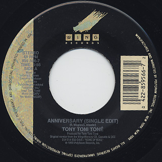 Tony Toni Tone / Anniversary (45) back