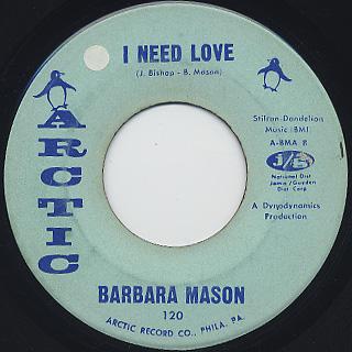 Barbara Mason / I Need Love c/w Bobby, Is My Baby