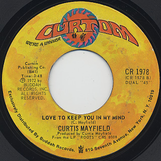 Curtis Mayfield / Superfly c/w Love To Keep You In My Mind back