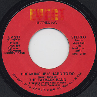 Fatback Band / Keep On Steppin' c/w Breaking Up Is Hard To Do back