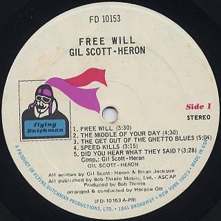 Gil Scott-Heron / Free Will label