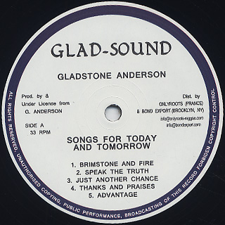 Gladstone Anderson / Sings Songs For Today And Tomorrow / Radical Dub Session label