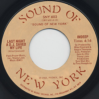 Indeep / Last Night A D.J. Saved My Life c/w D.J. Deligh front
