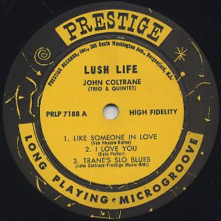 John Coltrane / Lush Life label