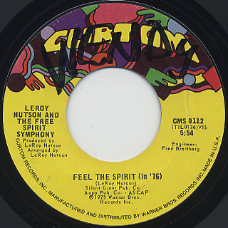 Leroy Hutson And The Free Spirit Symphony / Feel The Spirit (In '76) back