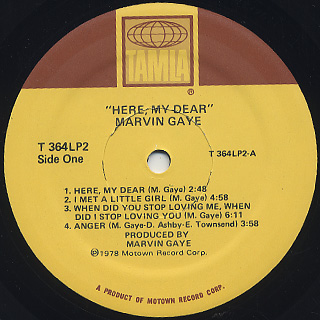 Marvin Gaye / Here, My Dear label