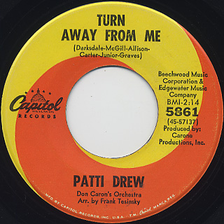 Patti Drew / Tell Him c/w Turn Away From Me back