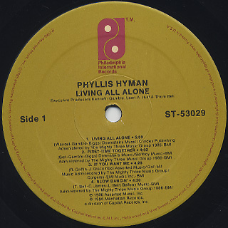 Phyllis Hyman / Living All Alone label