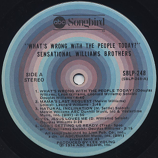 Sensetional Williams Brothers / What's Wrong With The People Today label