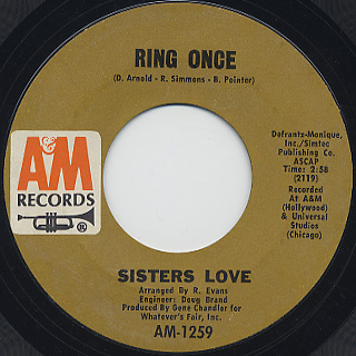 Sisters Love / Are You Lonely? c/w Ring Once back