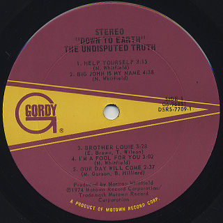 Undisputed Truth / Down To Earth label
