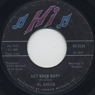 Al Green / Tired Of Being Alone c/w Get Back Baby back