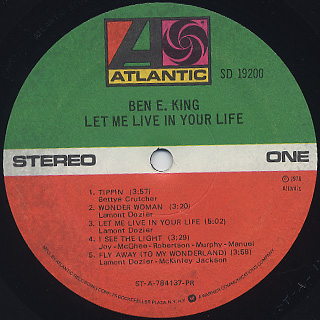 Ben E. King / Let Me Live In Your Life label