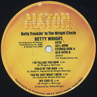 Betty Wright / Betty Travelin' In The Wright Circle label