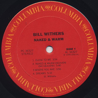 Bill Withers / Naked & Warm label
