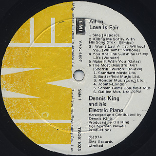 Denis King and His Electric Piano / All In Love Is Fair label