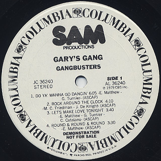 Gary's Gang / Gangbusters label