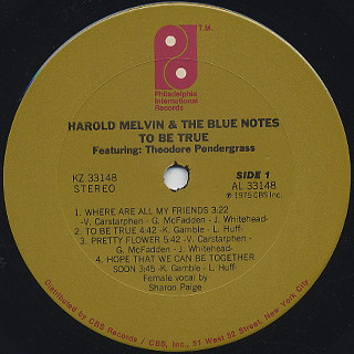Harold Melvin & The Blue Notes / To Be True label