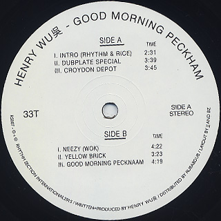 Henry Wu / Good Morning Peckham label