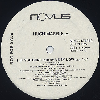 Hugh Masekela / If You Don't Know Me By Now label