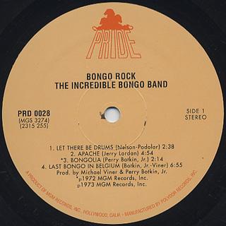 Incredible Bongo Band / Bongo Rock label