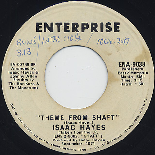 Isaac Hayes / Theme From Shaft c/w Cafe Regio's