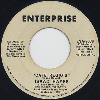 Isaac Hayes / Theme From Shaft c/w Cafe Regio's back
