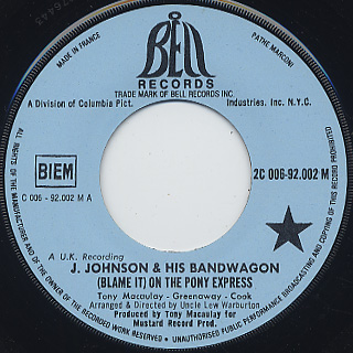 Johnny Johnson & The Band Wagon / (Blame It) On The Pony Express label
