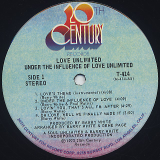 Love Unlimited / Under The Influence Of... label