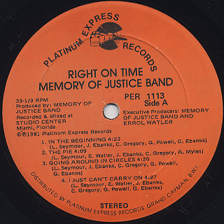 Memory Of Justice Band / Right On Time label