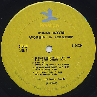 Miles Davis / Workin' And Steamin' label