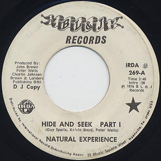 Natural Experience / Hide And Seek c/w Part II