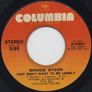 Ronnie Dyson / Just Don't Want To Be Lonely c/w Point Of No Return front