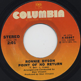 Ronnie Dyson / Just Don't Want To Be Lonely c/w Point Of No Return back
