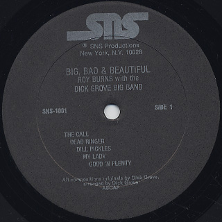 Roy Burns with The Dick Grove Big Band / Big, Bad & Beautiful label