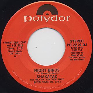 Shakatak / Night Birds (45) back