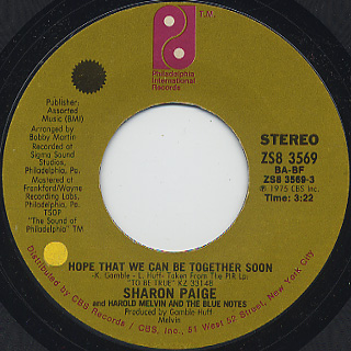 Sharon Paige and Harold Melvin and The Blue Notes / Hope That We Can Be Together Soon