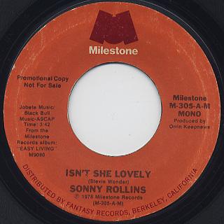 Sonny Rollins / Isn't She Lovely c/w Mono back
