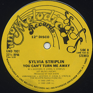 Sylvia Striplin / Give Me Your Love c/w You Can't Turn Me Away back