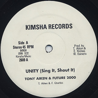 Tony Aiken and Future 2000 / Unity, Sing It, Shout It label