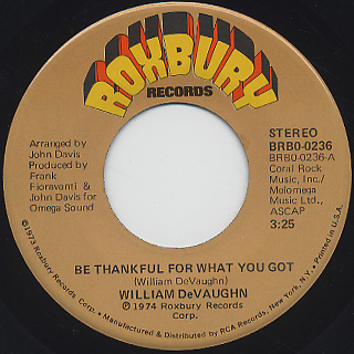 William Devaughn / Be Thankful For What You Got c/w Pt.2
