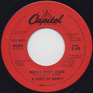 A Taste Of Honey / Boogie Oogie Oogie c/w World Spin front