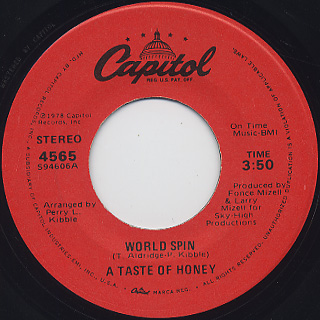 A Taste Of Honey / Boogie Oogie Oogie c/w World Spin back