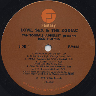 Cannonball Adderley / Love, Sex, And The Zodiac label