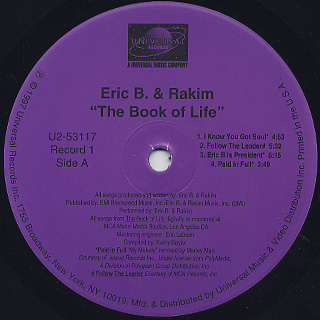 Eric B. & Rakim / The Book Of Life label