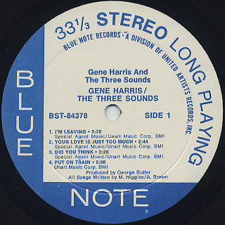 Gene Harris And The Three Sounds / S.T. label