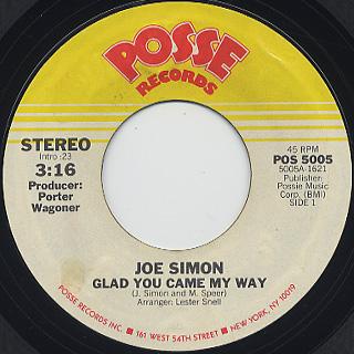 Joe Simon / Glad You Came My Way c/w I Don't Wanna Make Love