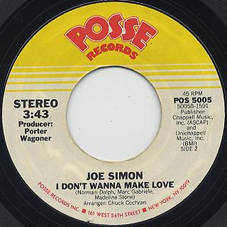 Joe Simon / Glad You Came My Way c/w I Don't Wanna Make Love back