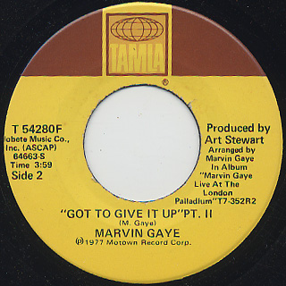 Marvin Gaye / Got To Give It Up c/w Part II back